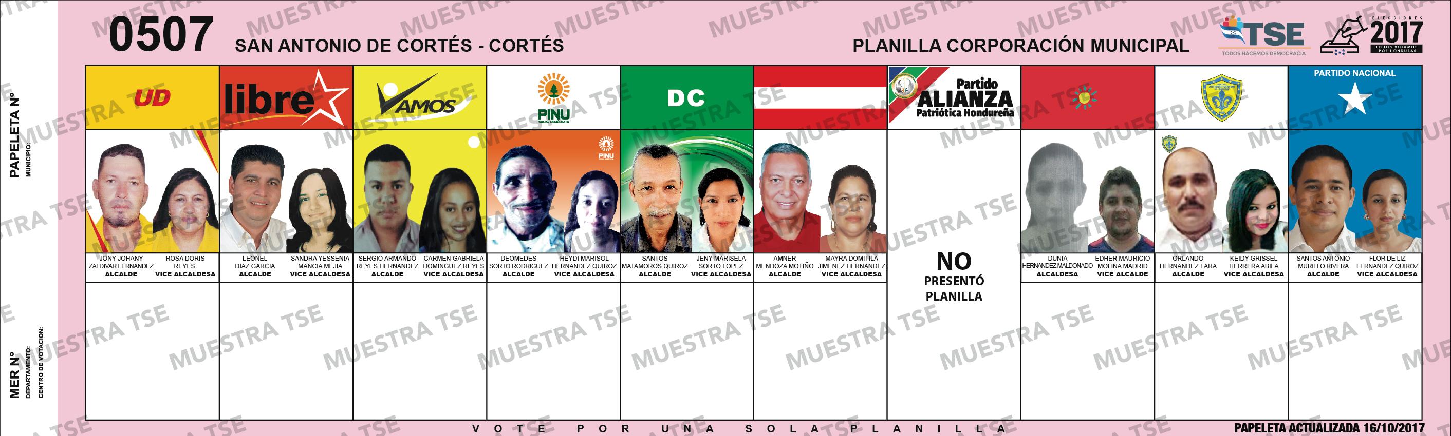 PAPELETA ELECTORAL - SAN ANTONIO DE CORTES
