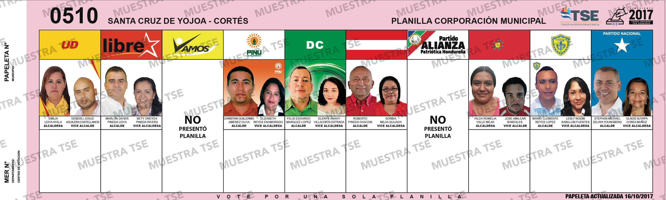 PAPELETA ELECTORAL - SANTA CRUZ DE YOJOA