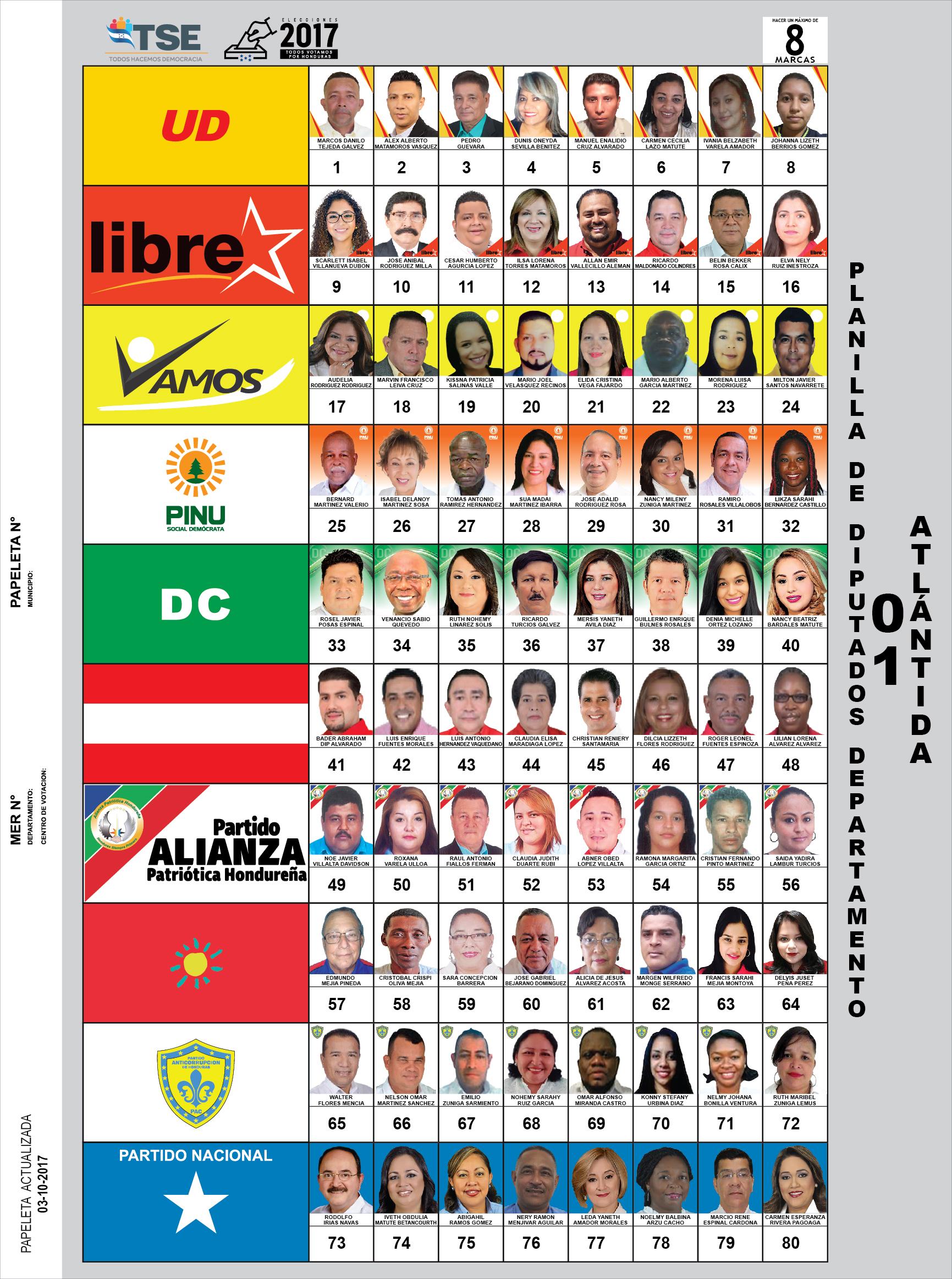 PAPELETA ELECTORAL - ATLÁNTIDA