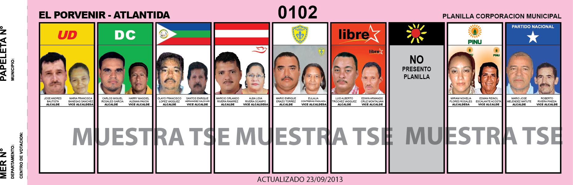 CANDIDATOS 2013 MUNICIPIO EL PORVENIR - ATLANTIDA - HONDURAS