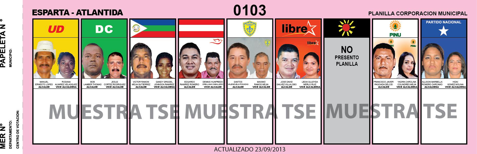 CANDIDATOS 2013 MUNICIPIO ESPARTA - ATLANTIDA - HONDURAS