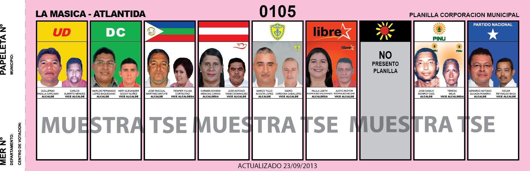 CANDIDATOS 2013 MUNICIPIO LA MASICA - ATLANTIDA - HODURAS
