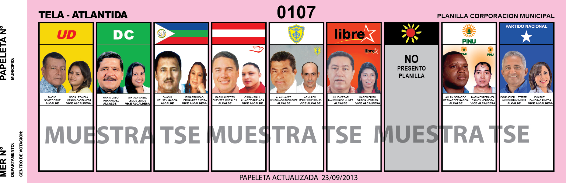 CANDIDATOS 2013 MUNICIPIO TELA - ATLANTIDA - HONDURAS