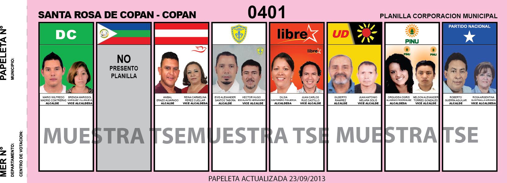 Candidatos 2013 Municipio Santa Rosa de Copan - Copan- Honduras