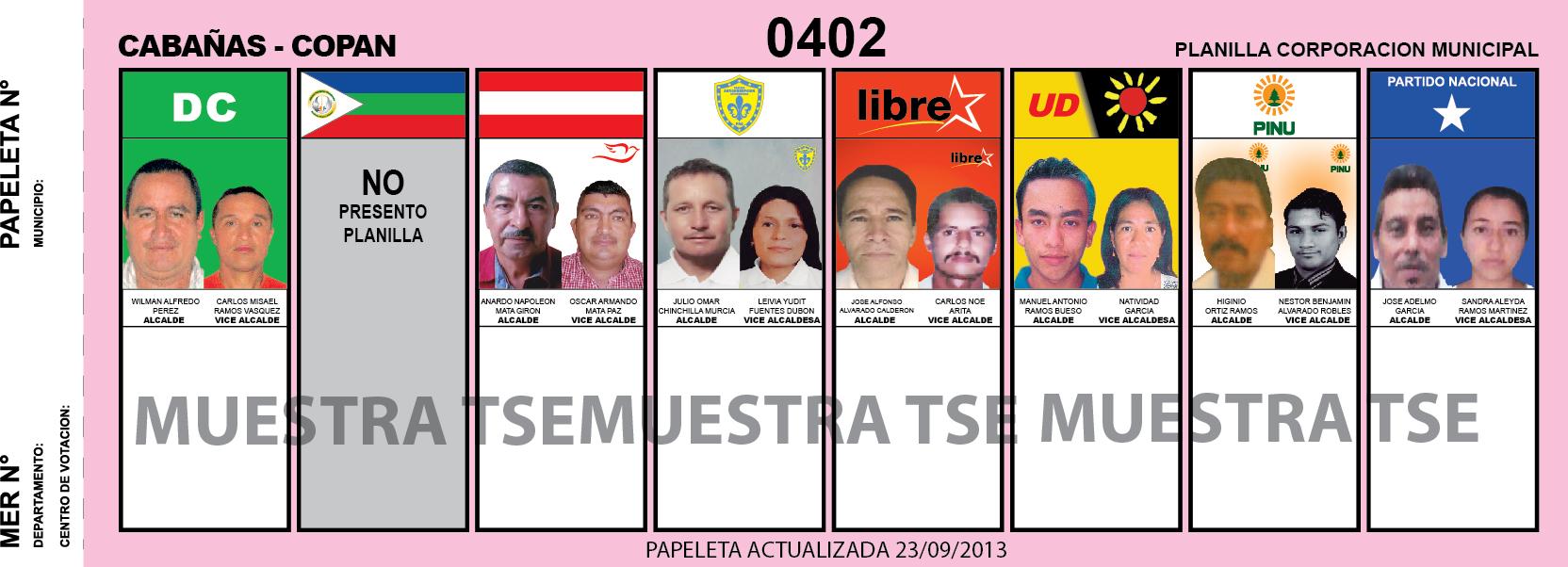 Candidatos 2013 Municipio Cabañas - Copan - Honduras