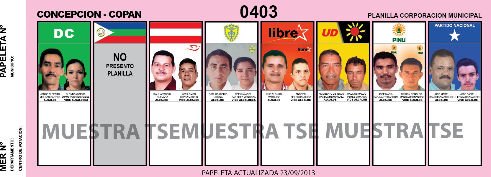 Candidatos 2013 Municipio Concepción - Copan - Honduras