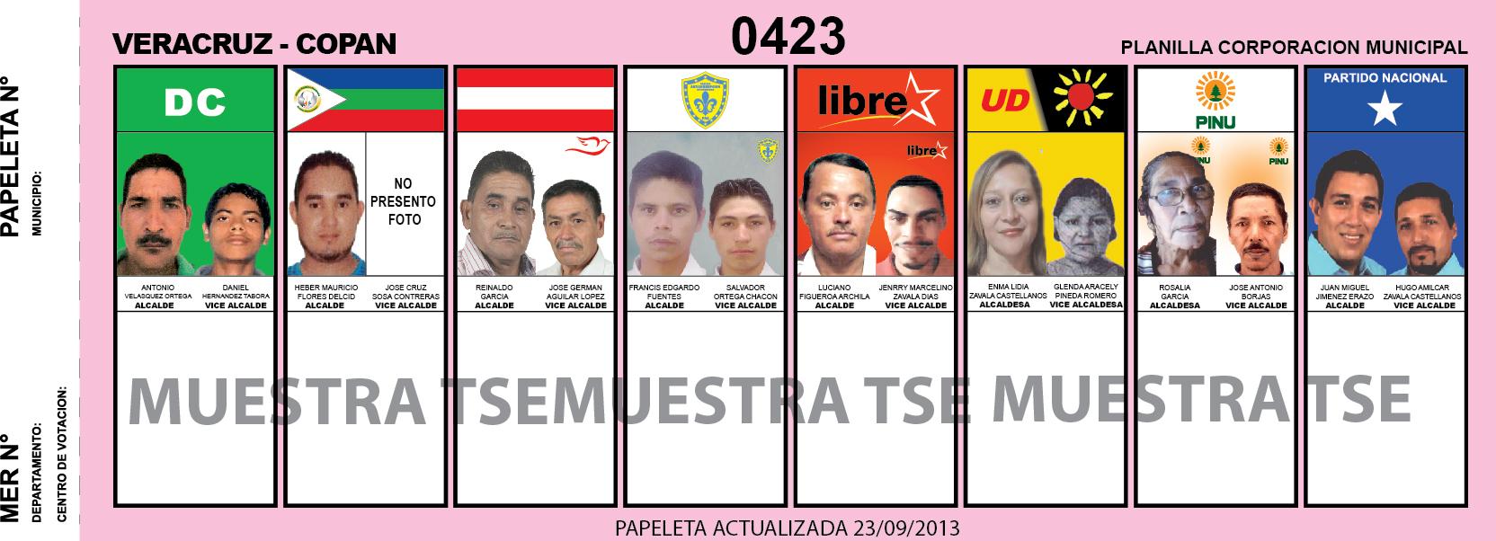 CANDIDATOS 2013 MUNICIPIO VERACRUZ - COPAN - HONDURAS