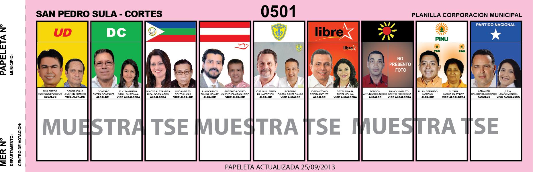 CANDIDATOS 2013 MUNICIPIO SAN PEDRO SULA - CORTES - HONDURAS