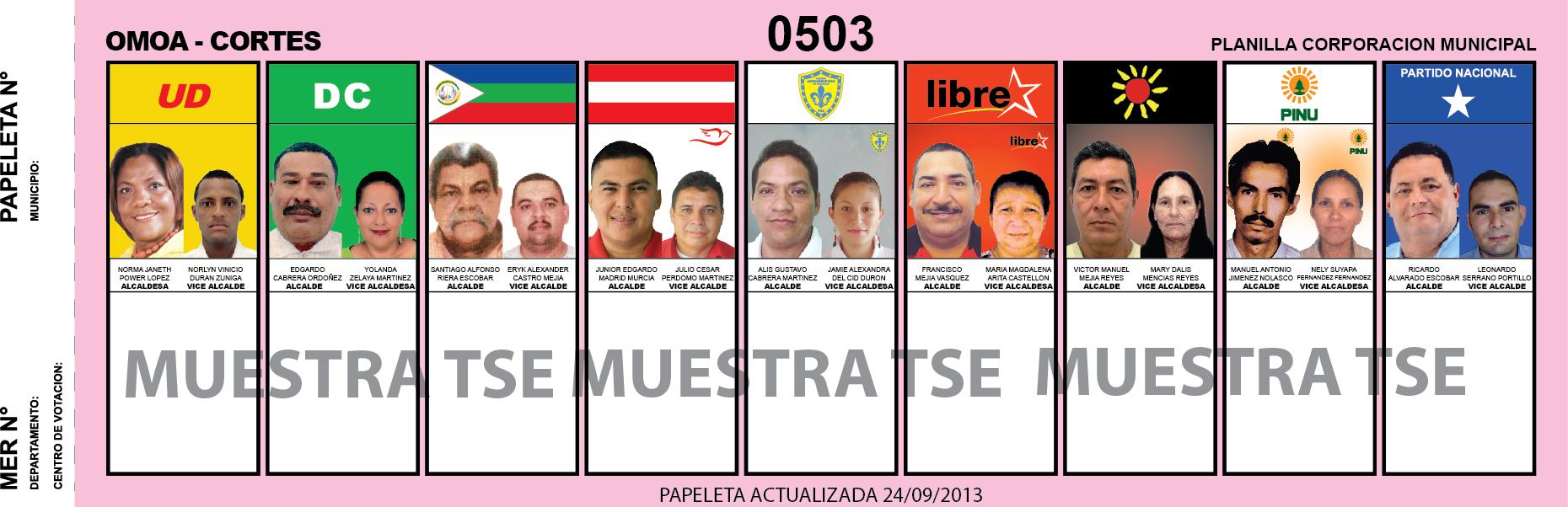 CANDIDATOS 2013 MUNICIPIO OMOA - CORTES - HONDURAS