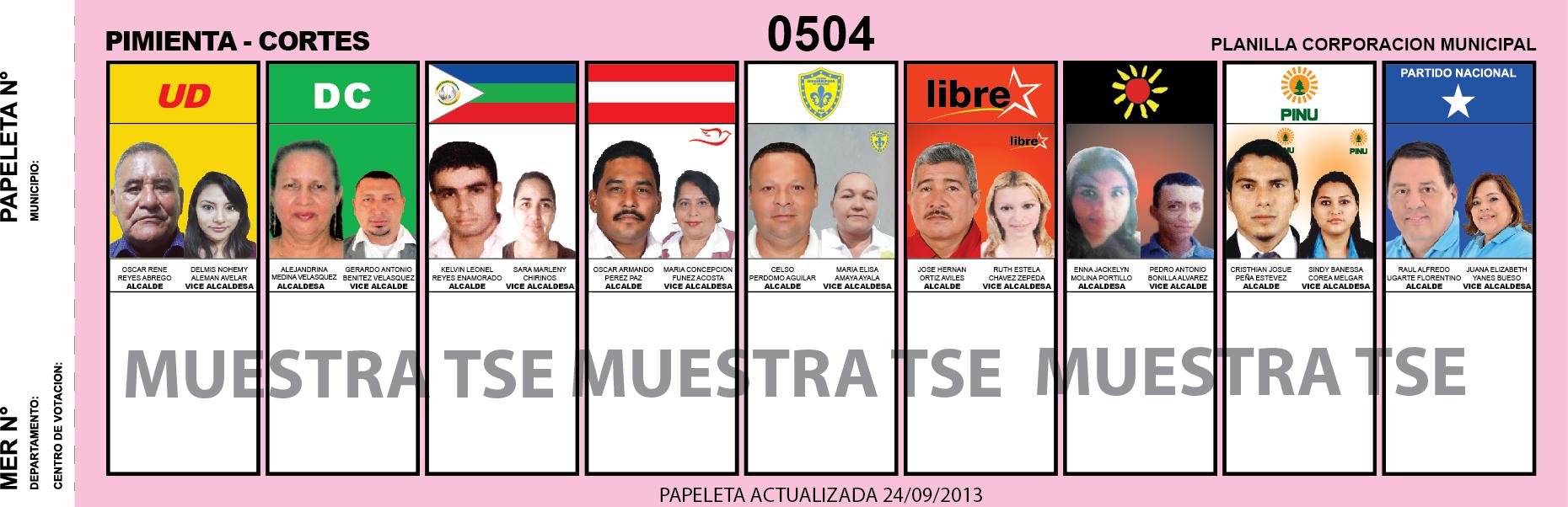 CANDIDATOS 2013 MUNICIPIO PIMIENTA - CORTES - HONDURAS