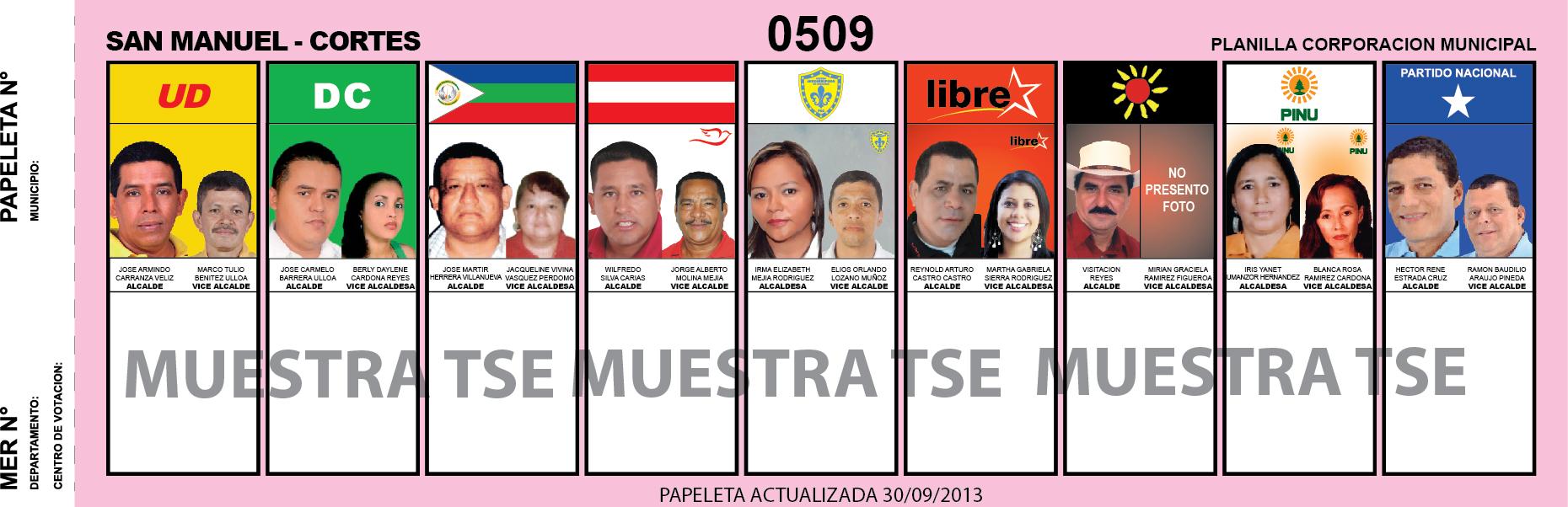 CANDIDATOS 2013 MUNICIPIO SAN MANUEL - CORTES - HONDURAS