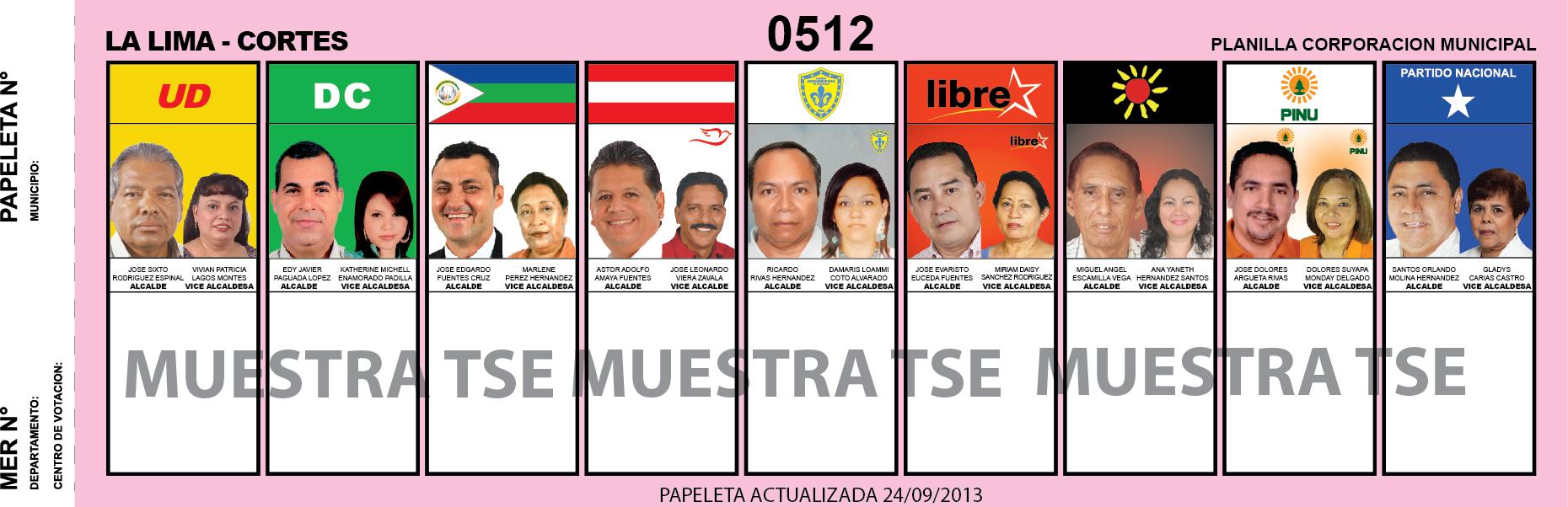 CANDIDATOS 2013 MUNICIPIO LA LIMA - CORTES - HONDURAS