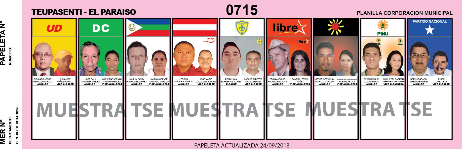 CANDIDATOS 2013 MUNICIPIO TEUPASENTI - EL PARAISO - HONDURAS