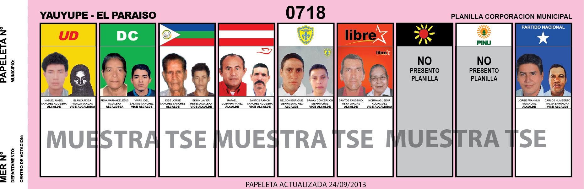 CANDIDATOS 2013 MUNICIPIO YAUYUPE - EL PARAISO - HONDURAS