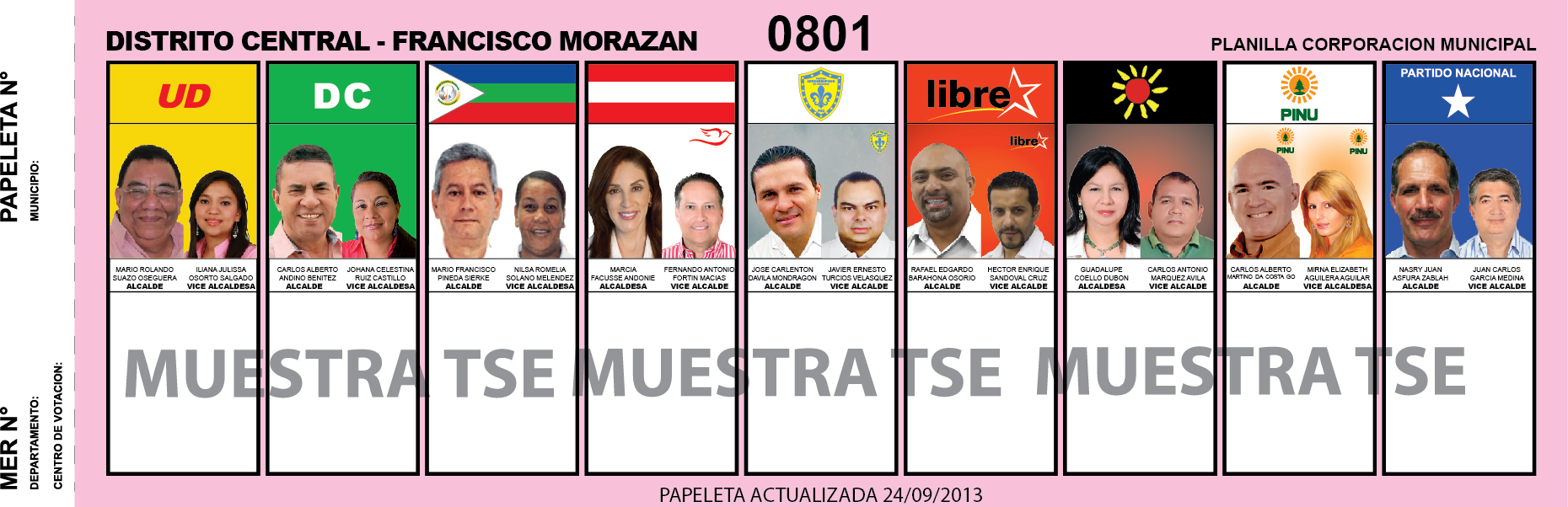CANDIDATOS 2013 MUNICIPIO DISTRITO CENTRAL - FRANCISCO MORAZAN - HONDURAS