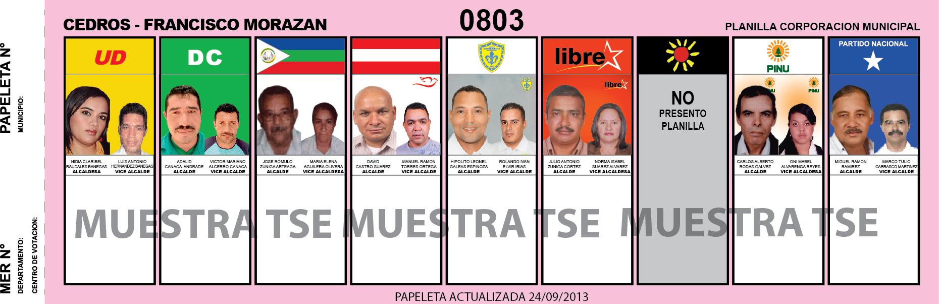 CANDIDATOS 2013 MUNICIPIO CEDROS - FRANCISCO MORAZAN - HONDURAS