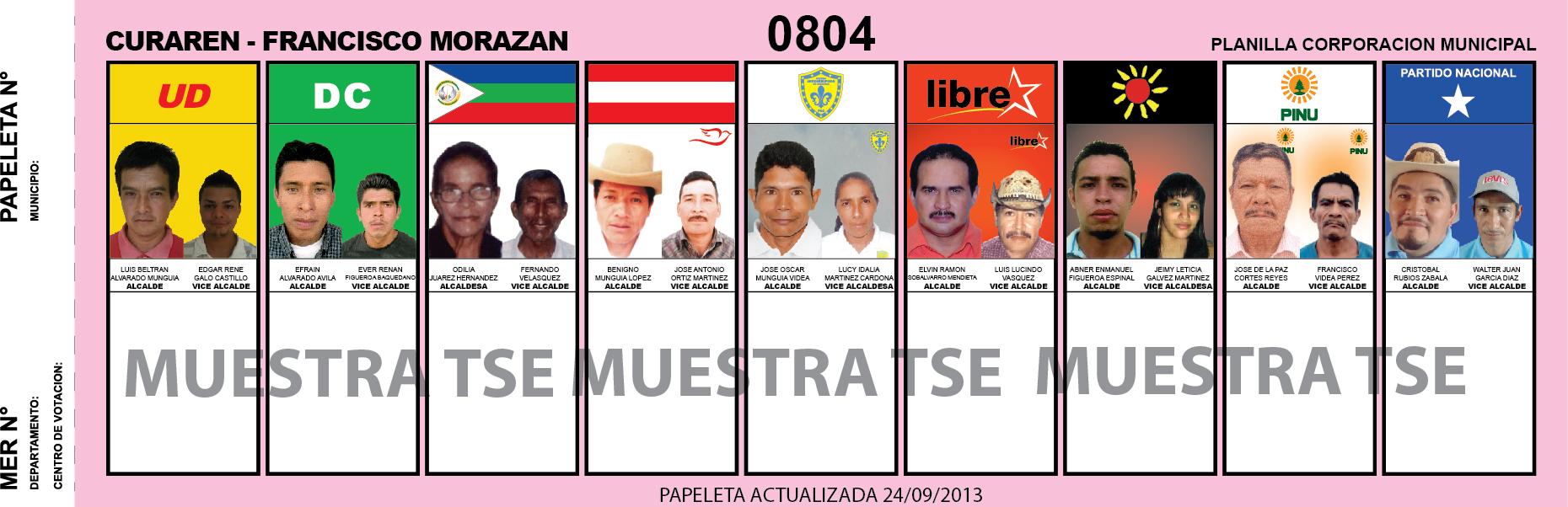 CANDIDATOS 2013 MUNICIPIO CURAREN - FRANCISCO MORAZAN - HONDURAS