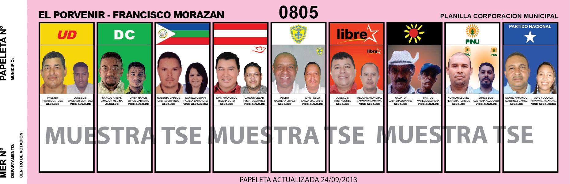 CANDIDATOS 2013 MUNICIPIO EL PORVENIR - FRANCISCO MORAZAN - HONDURAS