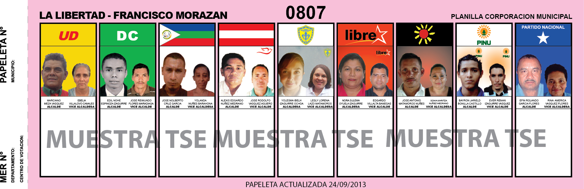 CANDIDATOS 2013 MUNICIPIO LA LIBERTAD - FRANCISCO MORAZAN - HONDURAS