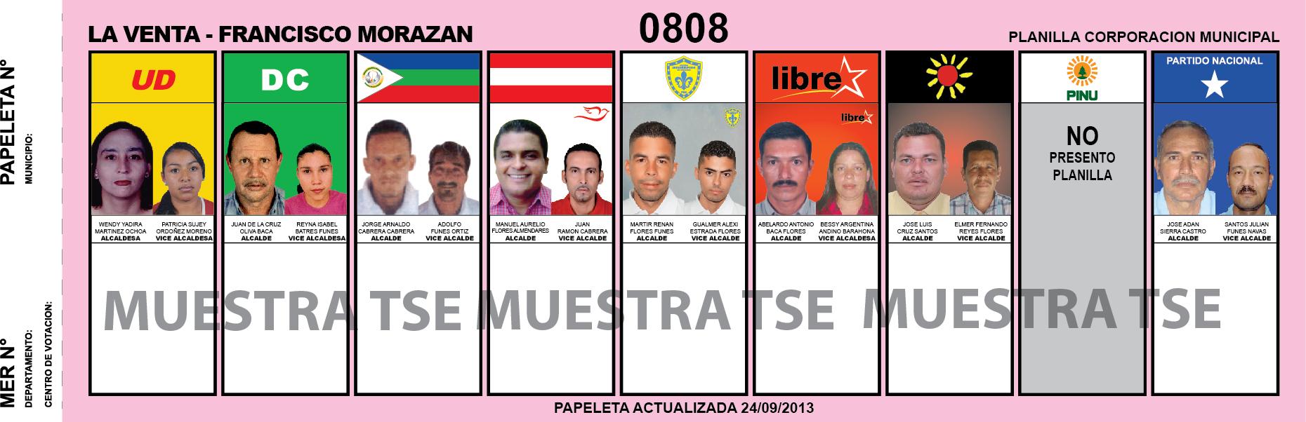 CANDIDATOS 2013 MUNICIPIO LA VENTA - FRANCISCO MORAZAN - HONDURAS
