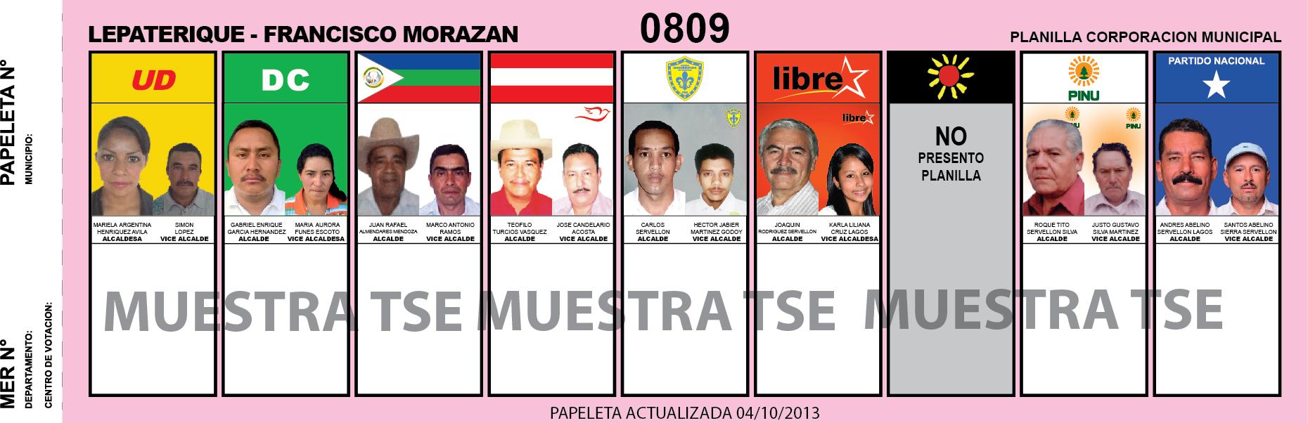 CANDIDATOS 2013 MUNICIPIO LEPATERIQUE - FRANCISCO MORAZAN - HONDURAS