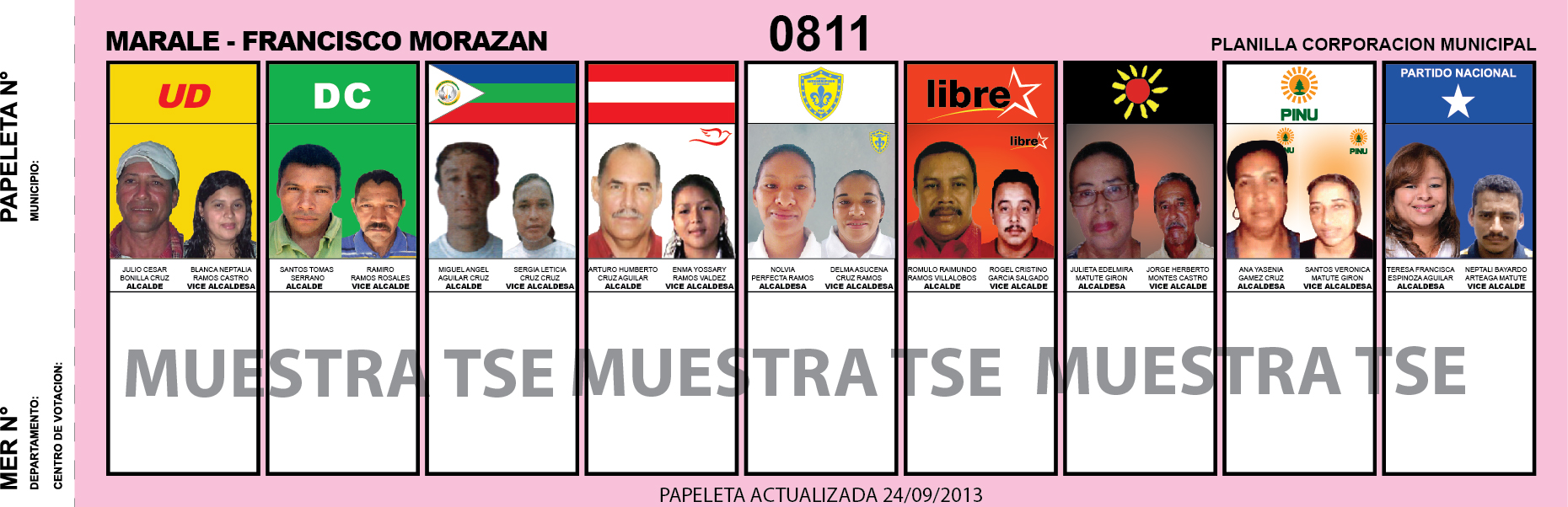 CANDIDATOS 2013 MUNICIPIO MARALE - FRANCISCO MORAZAN - HONDURAS