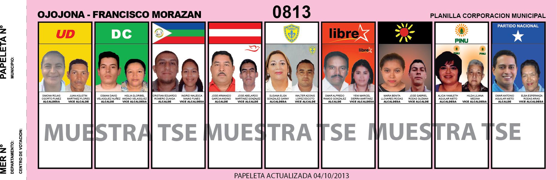 CANDIDATOS 2013 MUNICIPIO OJOJONA - FRANCISCO MORAZAN - HONDURAS