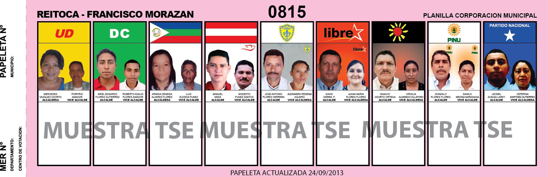 CANDIDATOS 2013 MUNICIPIO REITOCA - FRANCISCO MORAZAN - HONDURAS