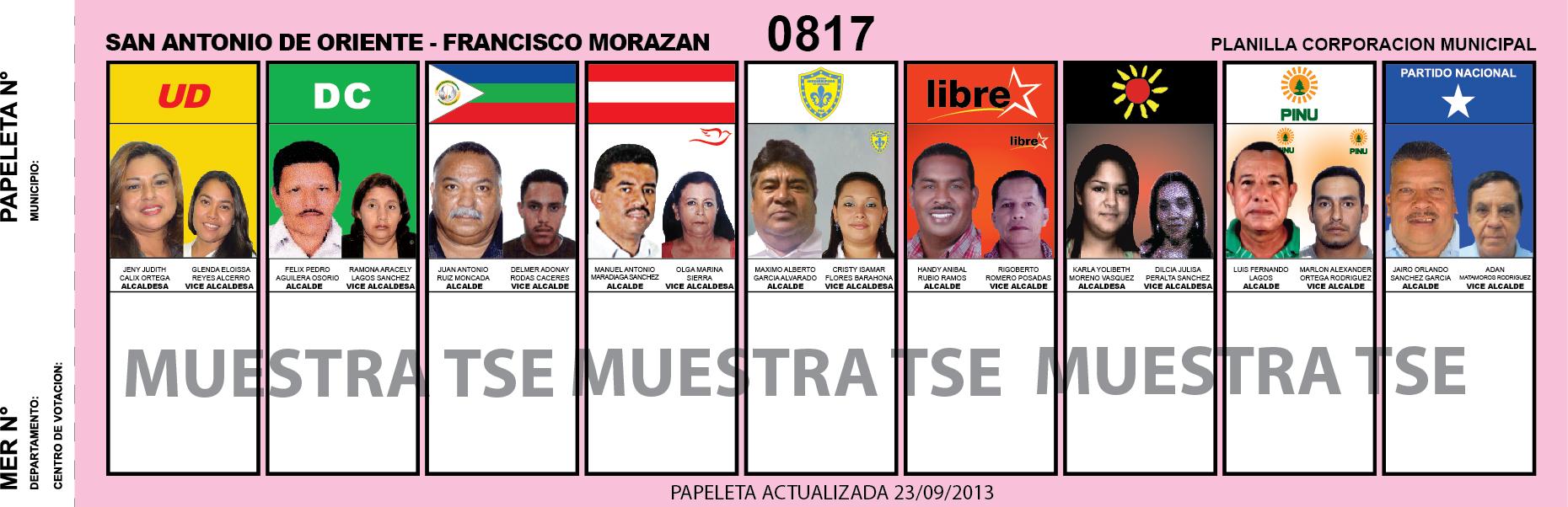 CANDIDATOS 2013 MUNICIPIO SAN ANTONIO DE ORIENTE - FRANCISCO MORAZAN - HONDURAS