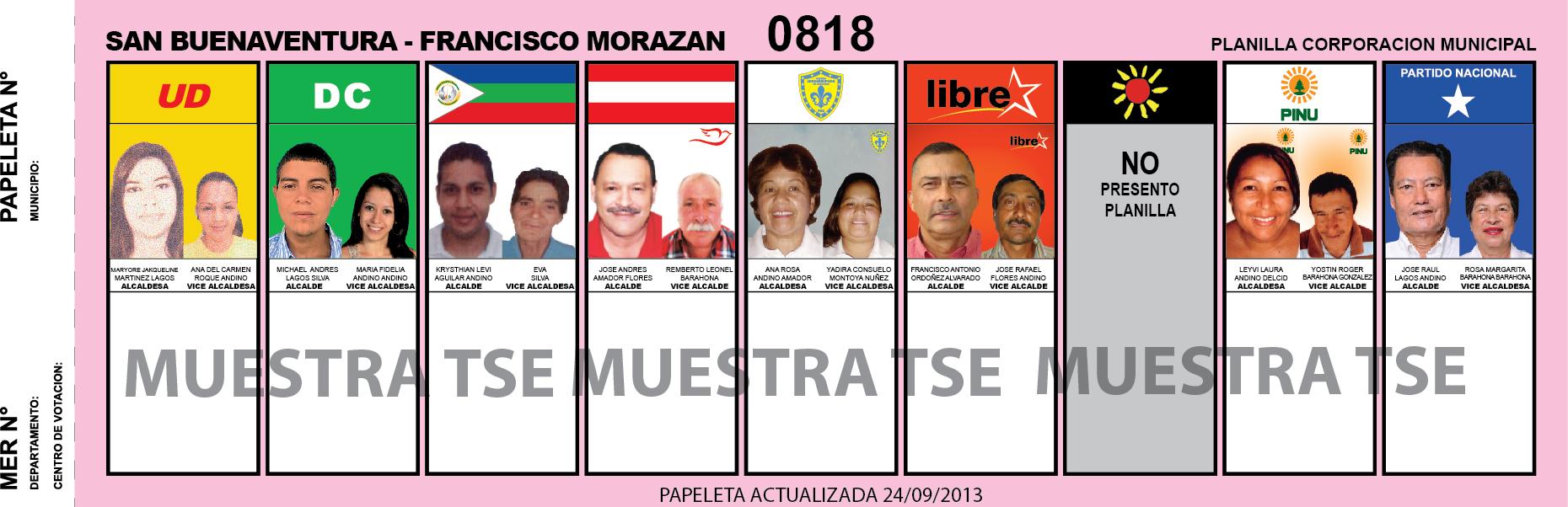 CANDIDATOS 2013 MUNICIPIO SAN BUENAVENTURA - FRANCISCO MORAZAN - HONDURAS