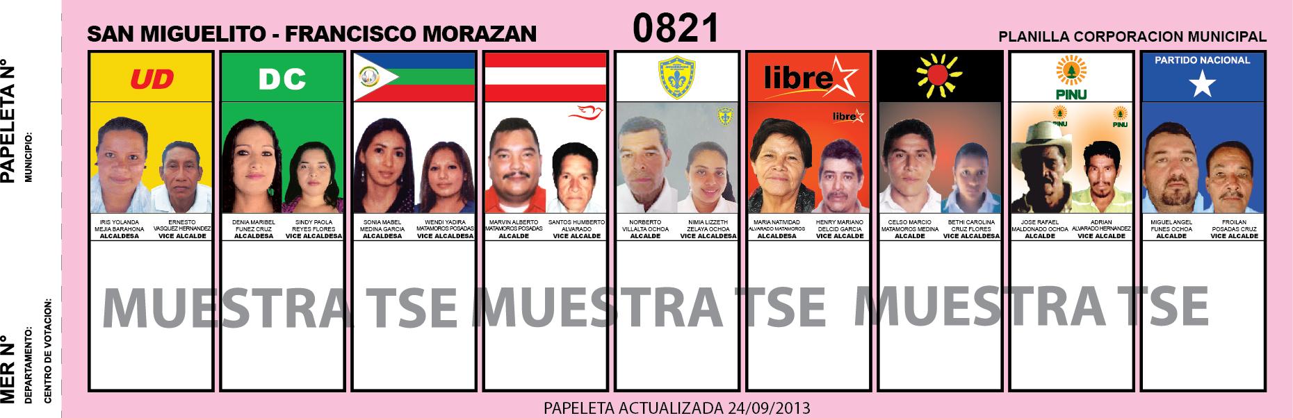 CANDIDATOS 2013 MUNICIPIO SAN MIGUELITO - FRANCISCO MORAZAN - HONDURAS