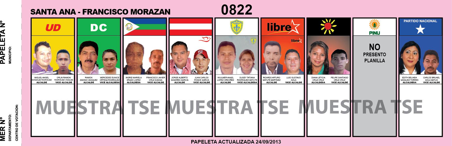 CANDIDATOS 2013 MUNICIPIO SANTA ANA - FRANCISCO MORAZAN - HONDURAS