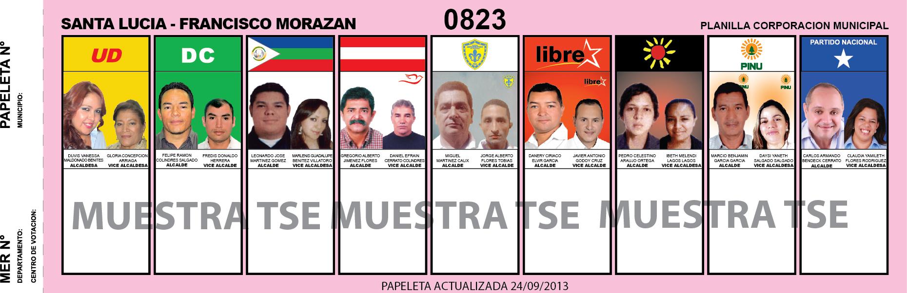 CANDIDATOS 2013 MUNICIPIO SANTA LUCIA - FRANCISCO MORAZAN - HONDURAS