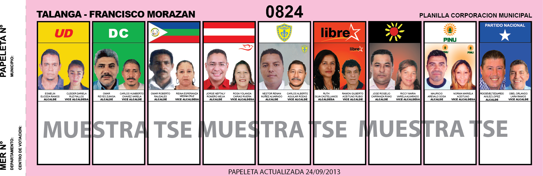 CANDIDATOS 2013 MUNICIPIO TALANGA - FRANCISCO MORAZAN - HONDURAS