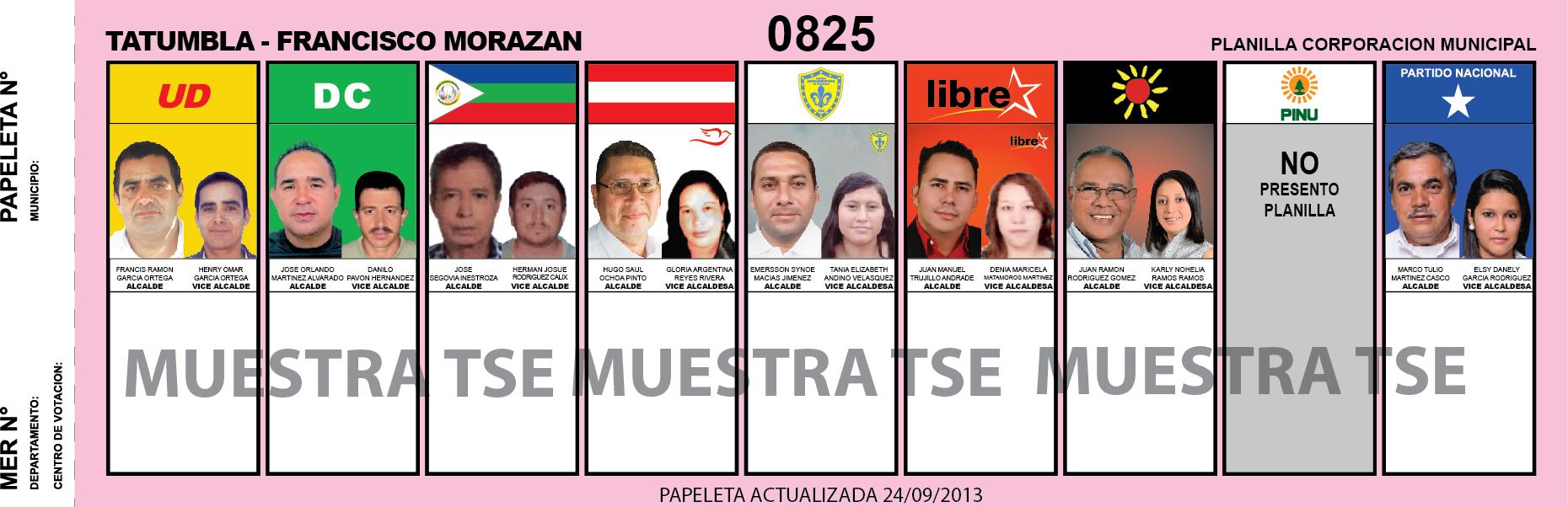 CANDIDATOS 2013 MUNICIPIO TATUMBLA - FRANCISCO MORAZAN - HONDURAS