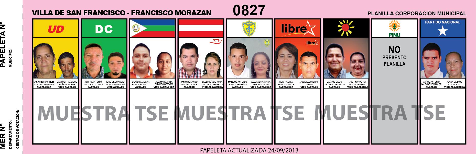 CANDIDATOS 2013 MUNICIPIO VILLA DE SAN FRANCISCO - FRANCISCO MORAZAN - HONDURAS