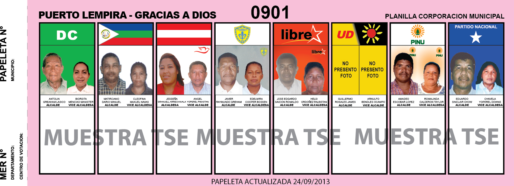 CANDIDATOS 2013 MUNICIPIO PUERTO LEMPIRA - GRACIAS A DIOS - HONDURAS