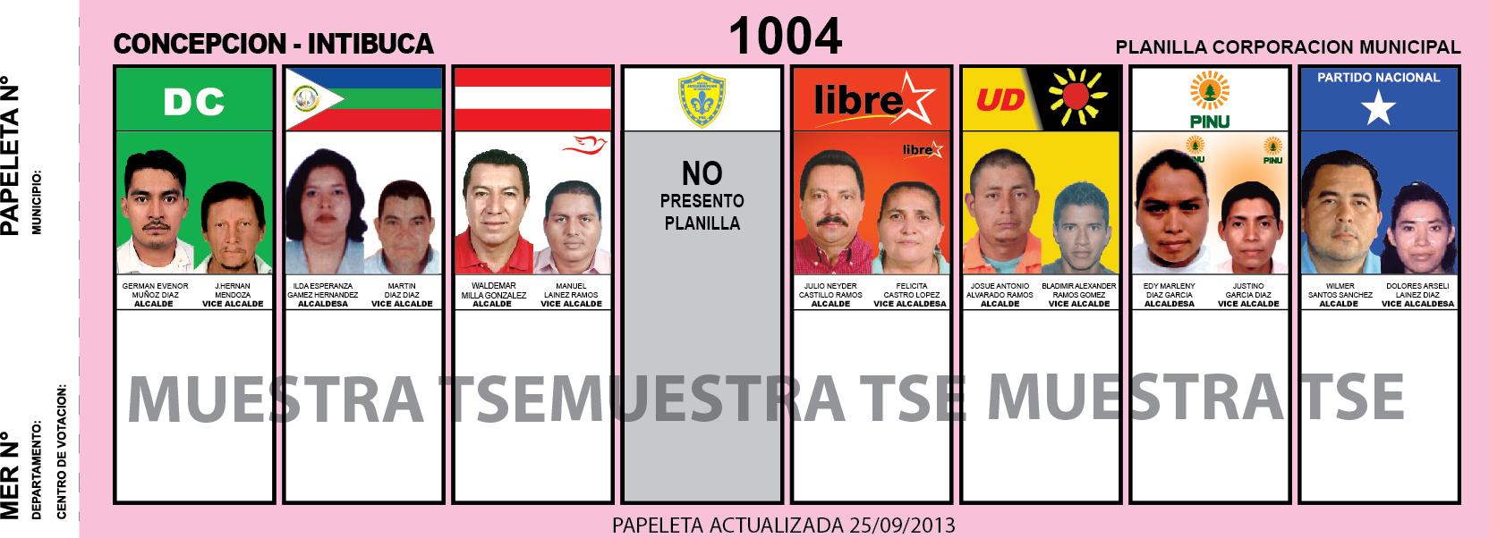 CANDIDATOS 2013 MUNICIPIO CONCEPCION - INTIBUCA - HONDURAS
