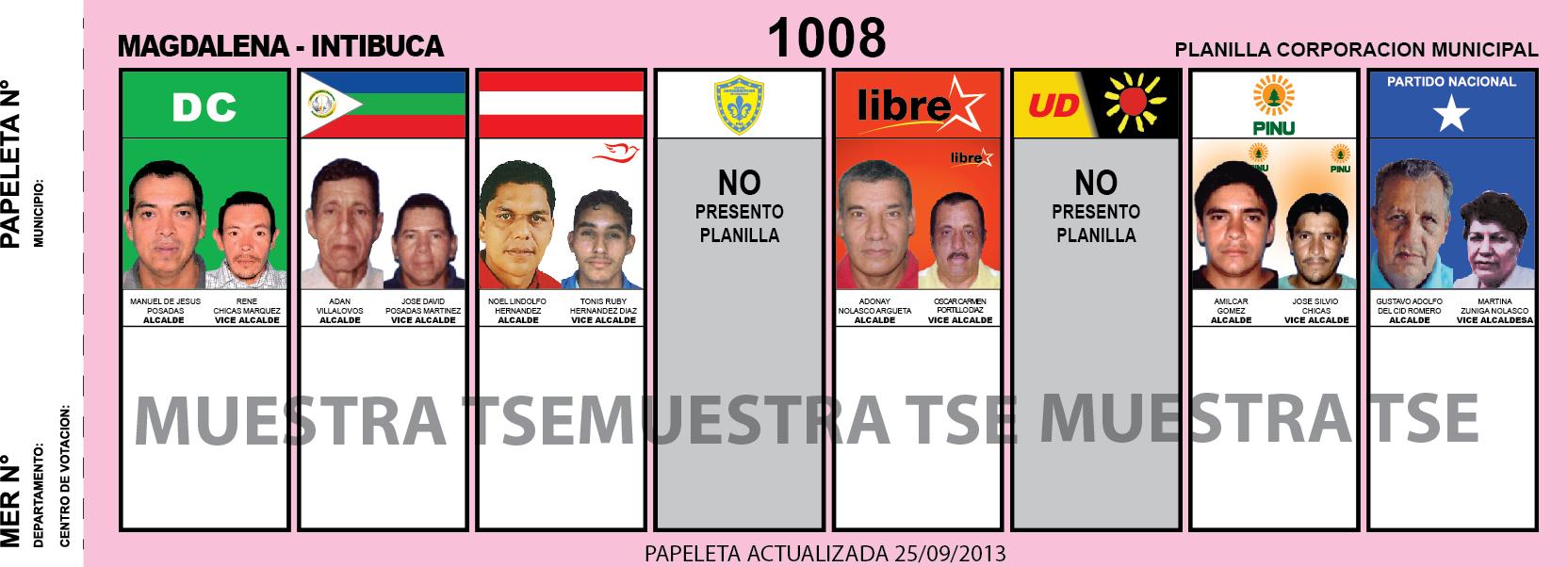 CANDIDATOS 2013 MUNICIPIO MAGDALENA - INTIBUCA - HONDURAS