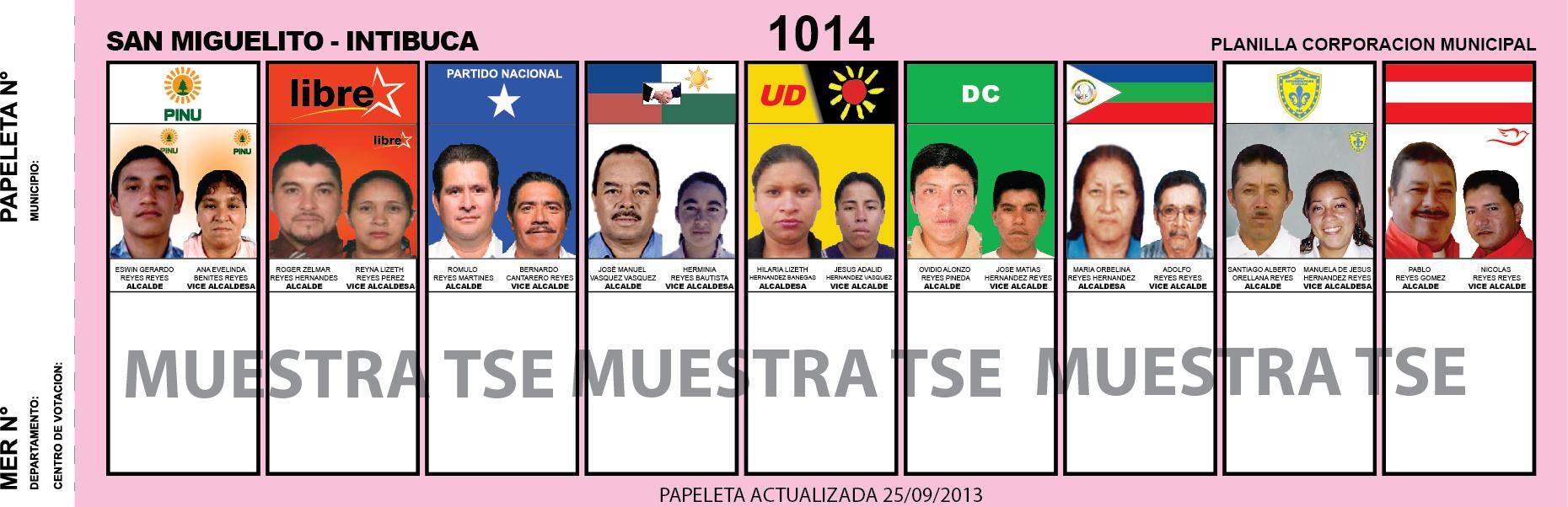 CANDIDATOS 2013 MUNICIPIO SAN MIGUELITO - INTIBUCA - HONDURAS