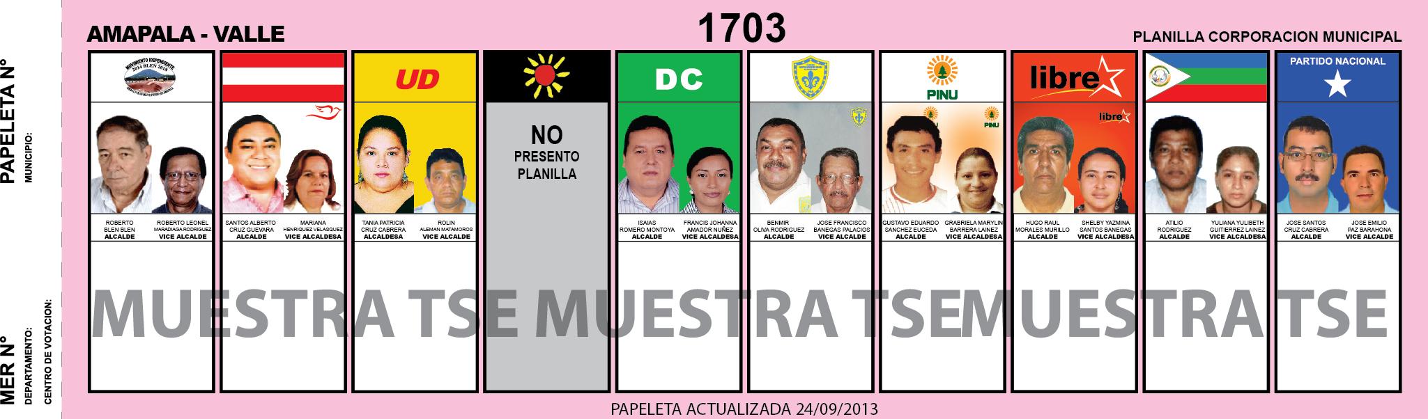 CANDIDATOS 2013 MUNICIPIO AMAPALA - VALLE - HONDURAS