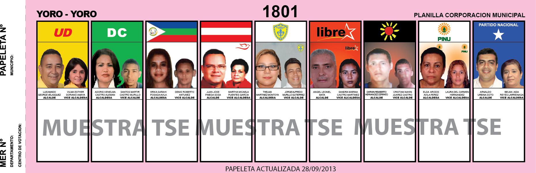 CANDIDATOS 2013 MUNICIPIO YORO - YORO - HONDURAS