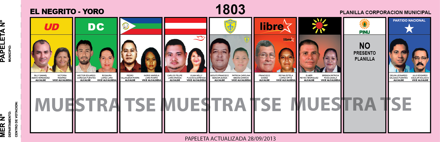 CANDIDATOS 2013 MUNICIPIO EL NEGRITO - YORO - HONDURAS