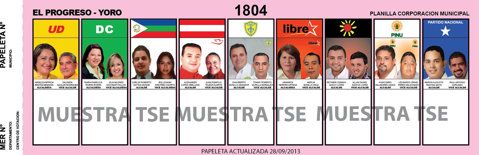 CANDIDATOS 2013 MUNICIPIO EL PROGRESO - YORO - HONDURAS