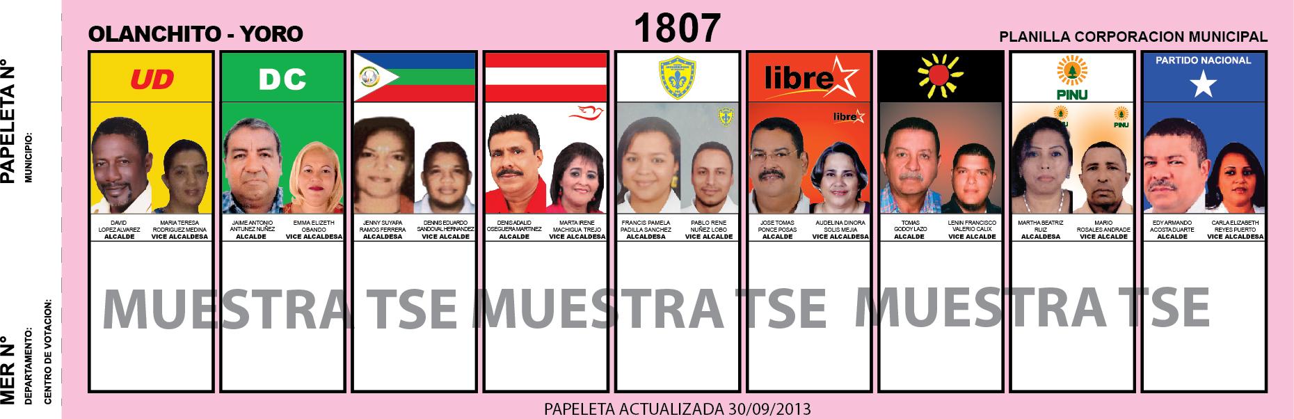 CANDIDATOS 2013 MUNICIPIO OLANCHITO - YORO - HONDURAS