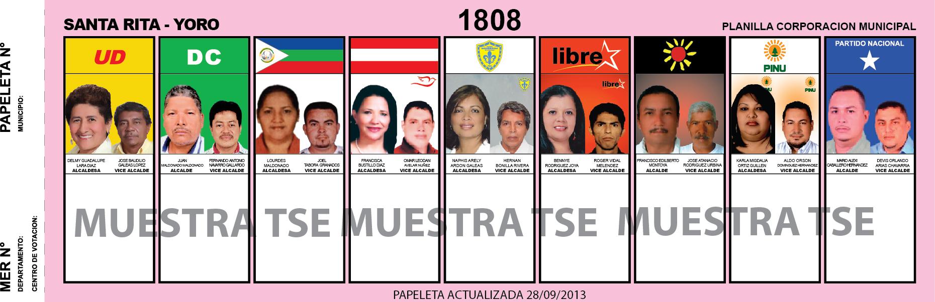 CANDIDATOS 2013 MUNICIPIO SANTA RITA - YORO - HONDURAS