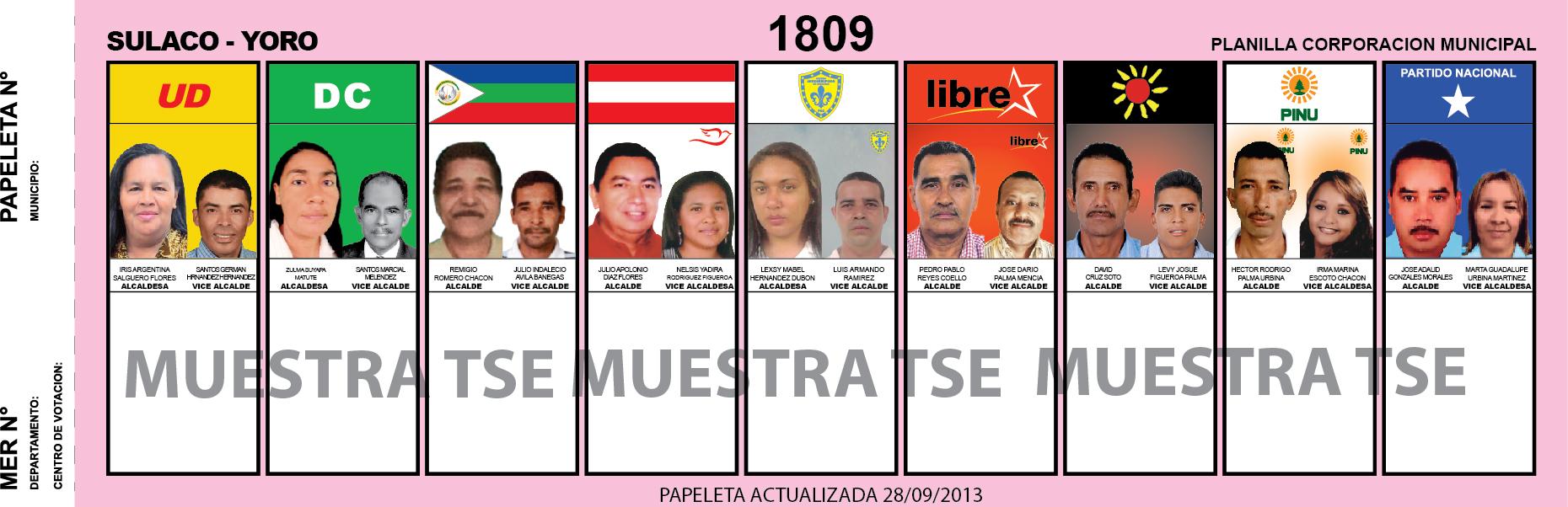 CANDIDATOS 2013 MUNICIPIO SULACO - YORO - HONDURAS