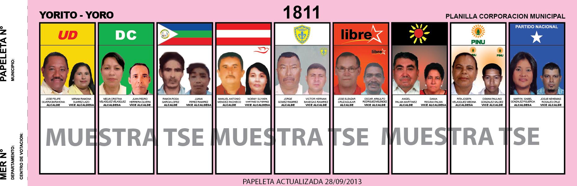 CANDIDATOS 2013 MUNICIPIO YORITO - YORO - HONDURAS