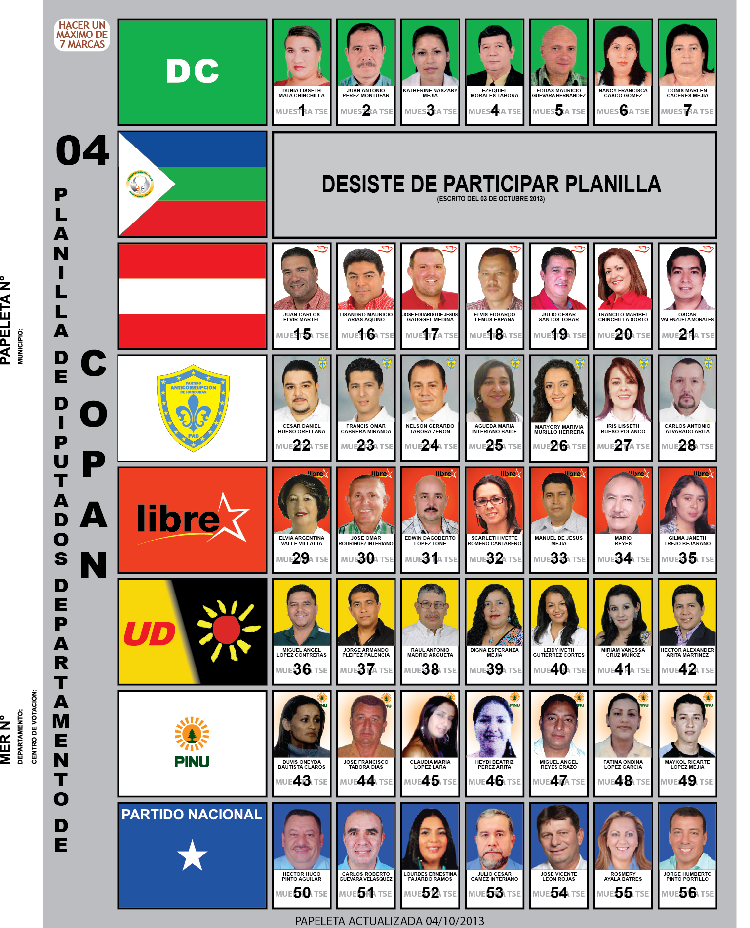 Candidatos a diputados 2013 - Departamento Copán - Honduras